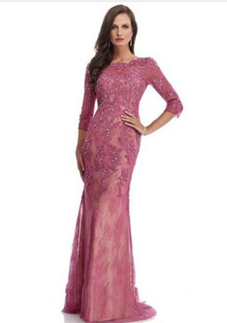 3/4 Sleeve Scoop Neck Burgundy Lace Beading Sheath/Column Evening Dresses -Price: $161.98 ( 55.0% OFF )