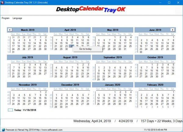 Desktop.Calendar.Tray.OK adalah aplikasi Kalender dasar buat Windows