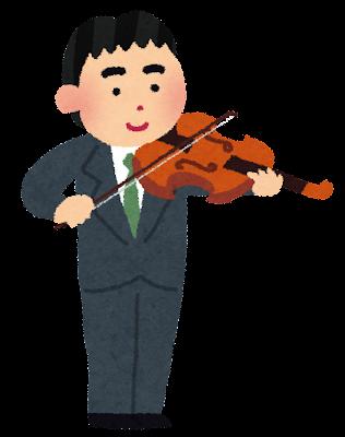 ヴィオラを演奏する男性のイラスト(オーケストラ)
