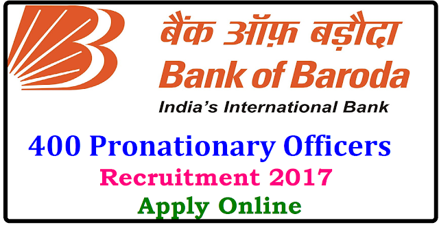 Bank of Baroda POs/ Pronationary Officers Recruitment 2017 ,Apply Online| Bank of Baroda Recruitment 2017 | Apply Online for Pronationary Officers posts recruitment 2017| Bank of Baroda 400 Probationary Officer Posts,Last Date 01.05.2017| Baroda Manipal School of Banding , Bank of Baroda has announced a notification for the recruitment of 400 Probationary Officers in Junior Management Grade/ Scale 1 . Eligibility and Interested candidtes may apply online through http://ibps.sifyitest.com/bobmansbmar17/from 1st of April to 1st of May .Other details like age limit ,educational qualification, selection process ,application fee and how to apply are given below/2017/04/bank-of-baroda-pos-pronationary-officers-recruitment-2017-apply-online-admitcards-results-application.html