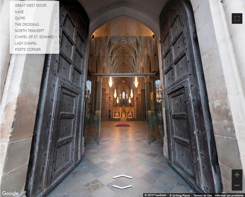 Entrada da Abadia de Westminster. Foto: reprodução do tour virtual no site da Abadia