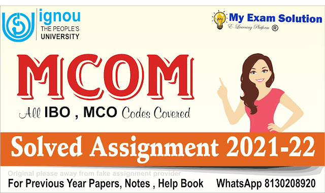 IGNOU MCOM Solved Assignment 2021-22