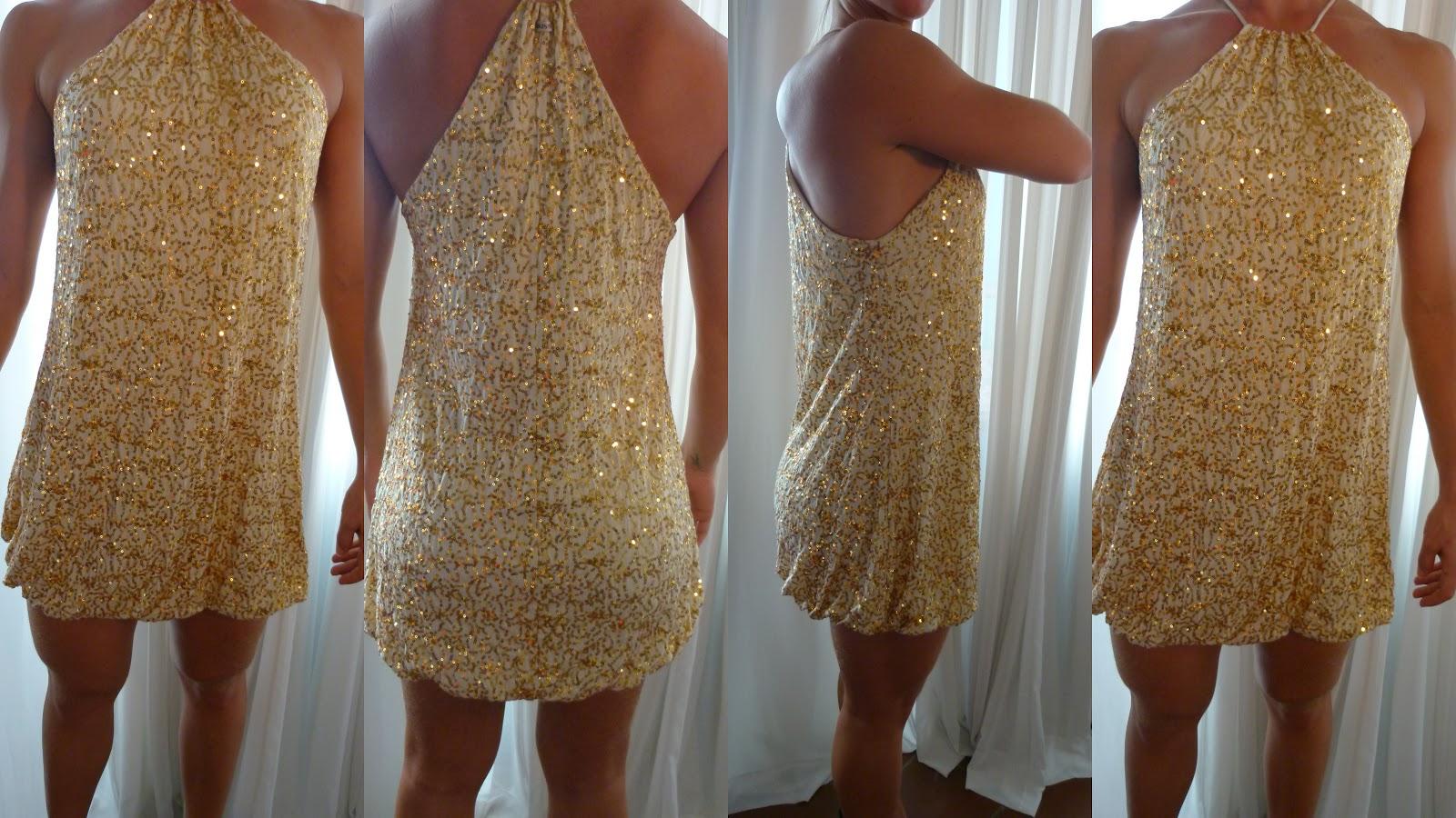 99a34b6e598 Dona Chic  Vestido Paetê Dourado - VENDIDO