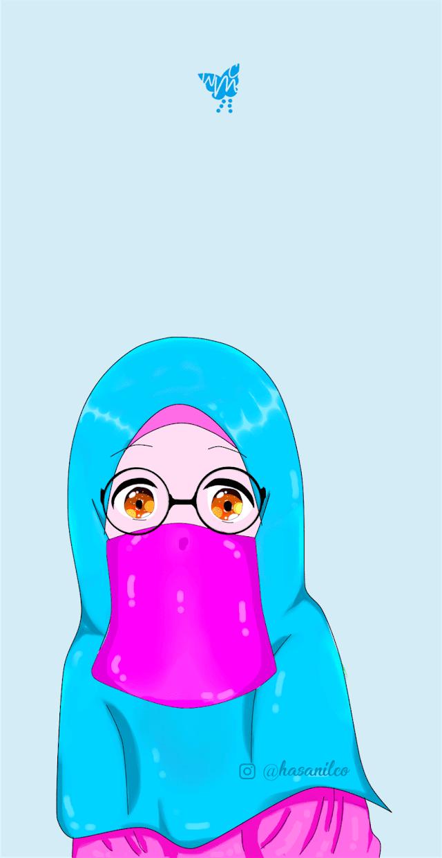 04 Kartun Muslimah Bercadar dan Berkacamata Terbaru 2019