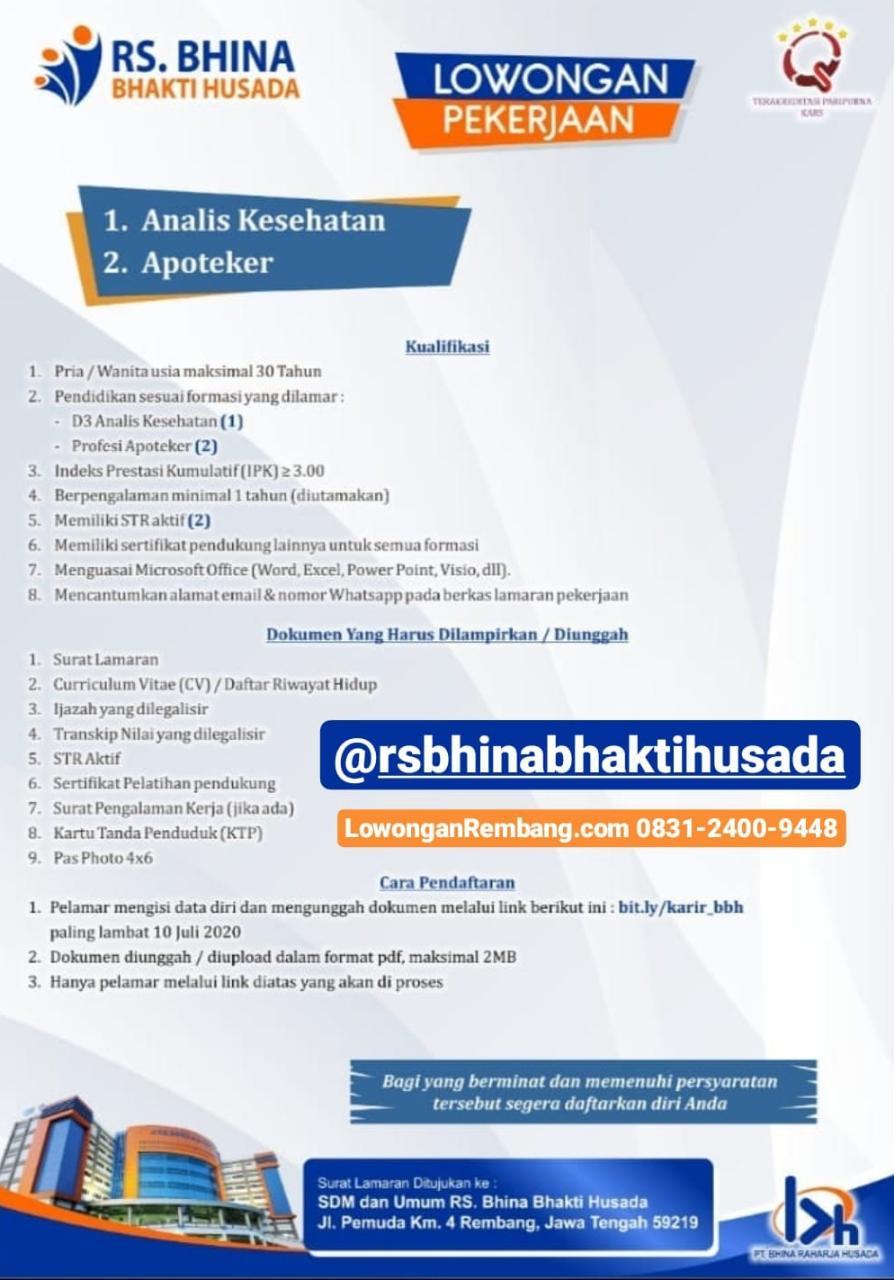 2 Lowongan Kerja Rumah Sakit Bhina Bhakti Husada Rembang