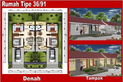 Denah Rumah Minimalis Tipe 36/91