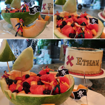 Make a Pirate Ship from a watermelon with Fruit Salad EASY Version for Pirate Birthday Party Food