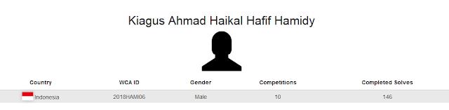 Profile akun WCA dari Kiagus Ahmad Haikal Hafif Hamidy yang berada pada peringkat 5 menyelesaikan rubik dengan tutup mata