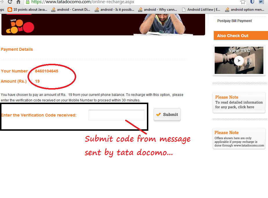 To Check and Activate internet plan for Tata Docomo step 3
