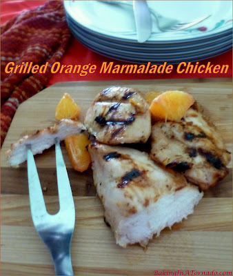 Grilled Orange Marmalade Chicken is a quick family staple for a busy night. A simple marinade you can make in advance flavors the chicken, then grill and serve. | Recipe developed by www.BakingInATornado.com | #recipe #dinner