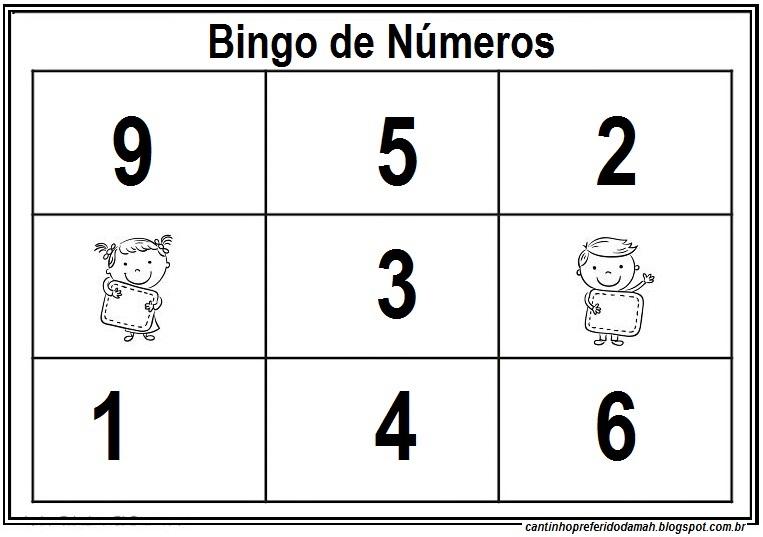 meu cantinho preferido bingo de números de 0 à 9