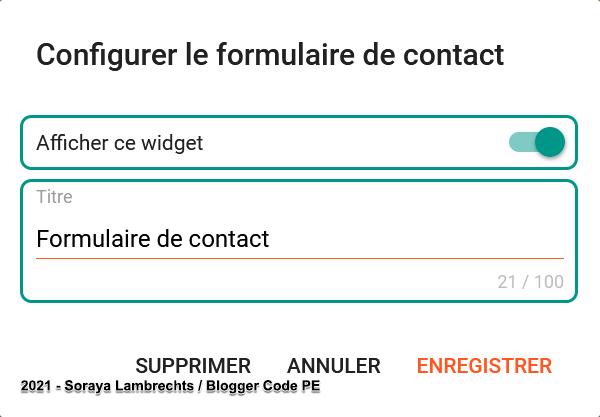 Le panneau de configuration du gadget ContactForm
