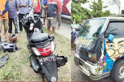 Kecelakaan Motor vs Pick Up di Nganjuk, Satu Korban Luka-luka