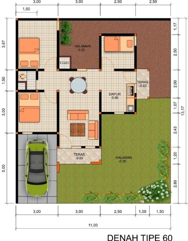 desain denah rumah type 60 hook idaman