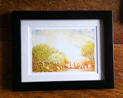 Water Colour landcape Sketch for sale of woods, track and standing stones