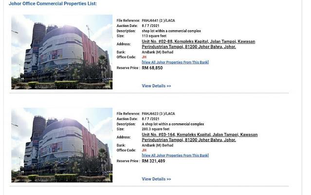 Lot Kedai Untuk Dilelong dekat JB harga RM68,850 pun ada