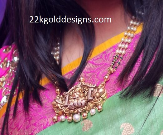 Laxmi Pendant Beads Necklace