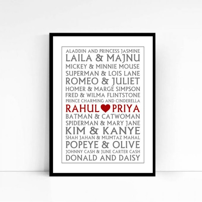 Personalised Between Popular Couples Poster