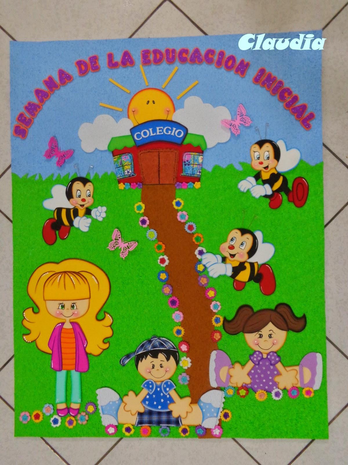 Lindas manualidades cartel para d a de la educaci n inicial for Decoracion 25 de mayo nivel inicial