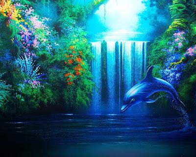 Linda imagen de fantasia de un delfin en una cascada