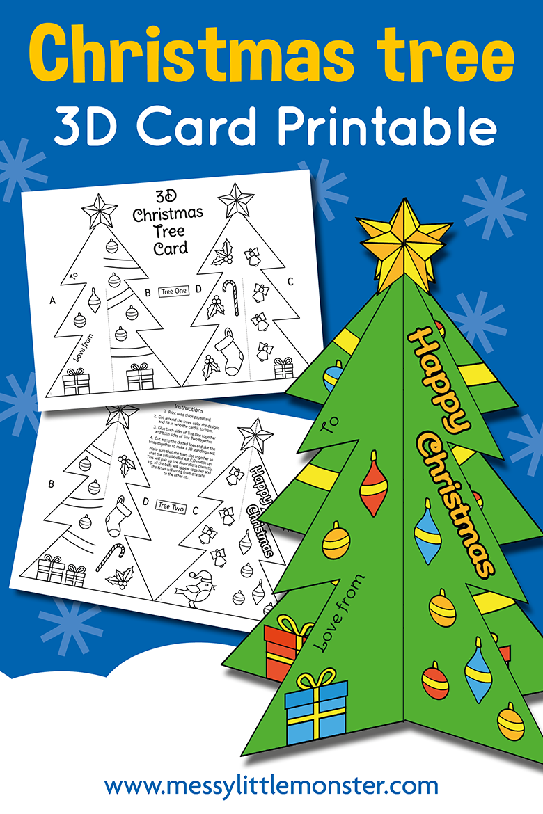 3d Christmas Tree Card Template Messy Little Monster
