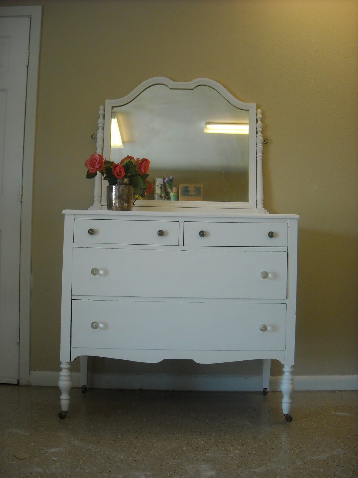 Timelessshabbycreations Shabby Chic Antique White Dresser With Mirror On Casters Sold