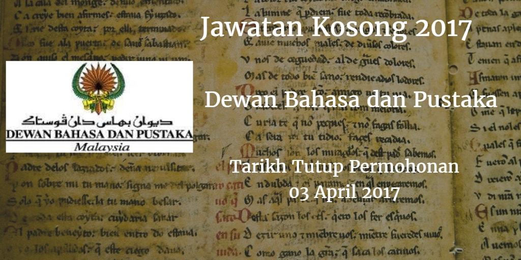 Jawatan Kosong DBP 03 April 2017