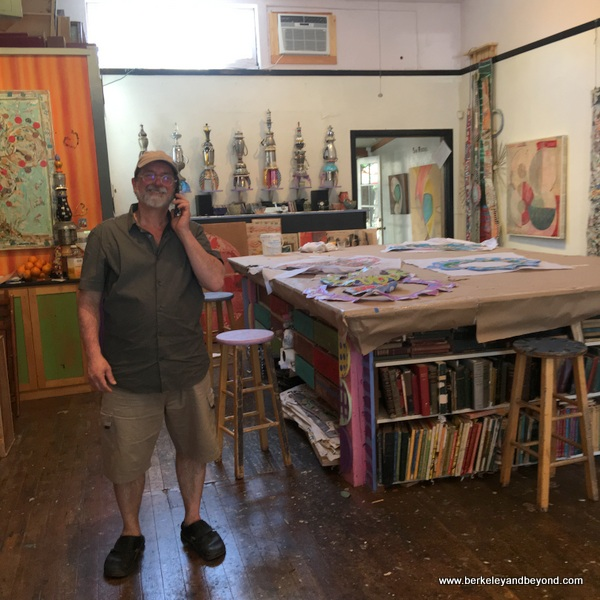 artist Douglas DeVivo in his Blue Door Gallery Studios in Guerneville, California