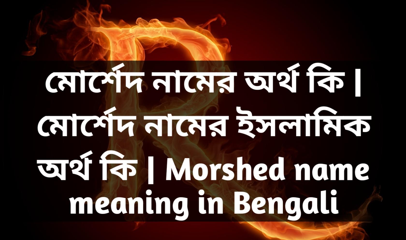 Morshed name meaning in Bengali, মোর্শেদ নামের অর্থ কি, মোর্শেদ নামের বাংলা অর্থ কি, মোর্শেদ নামের ইসলামিক অর্থ কি,