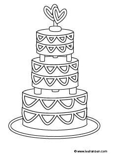 Printable Coloring Book Pages: Wedding Cake Coloring Page