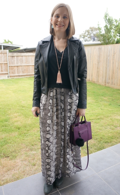leather jacket snake print maxi dress worn as a skirt with tee on top birthday party outfit | awayfromblue