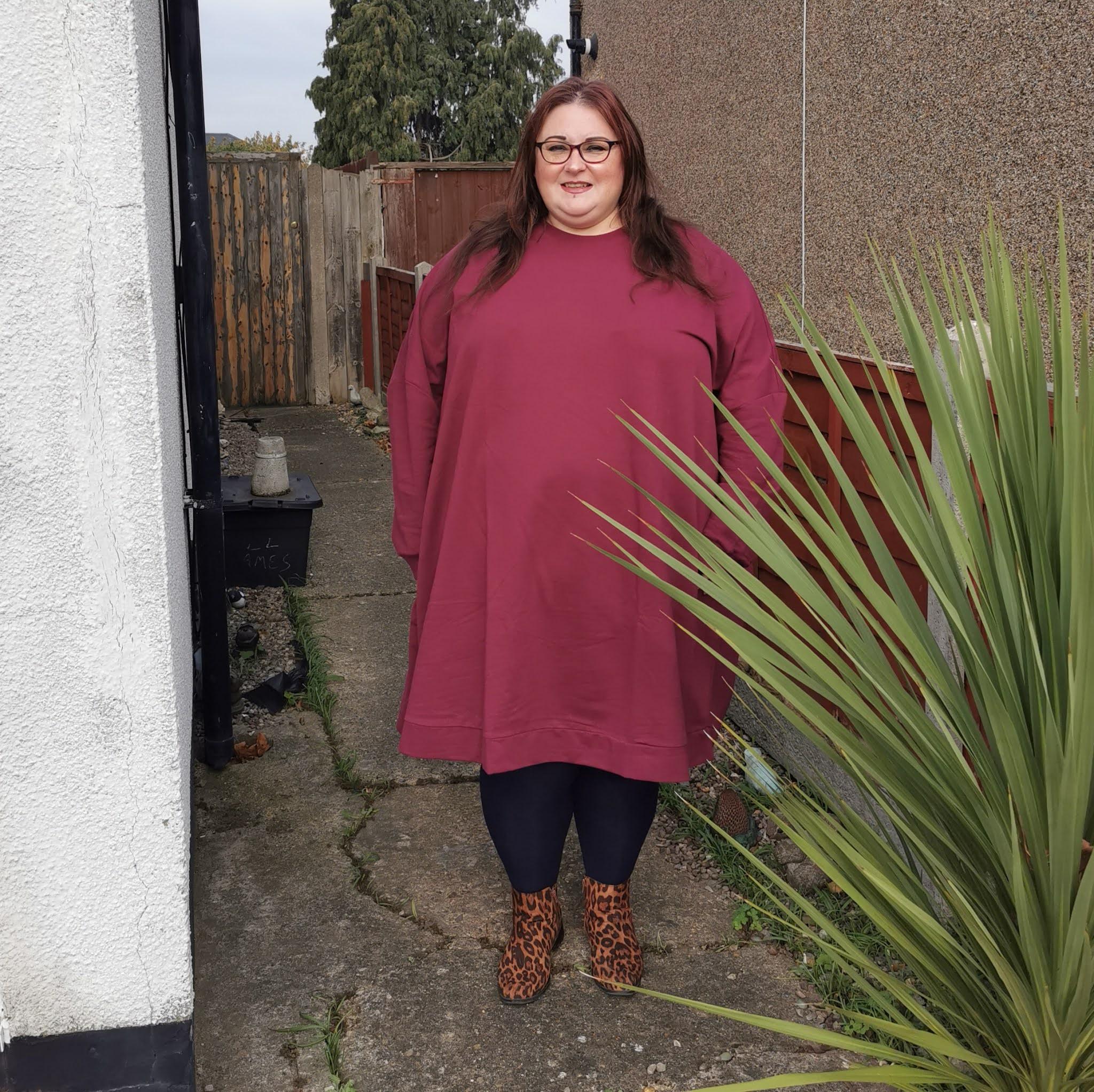 ASOS Curve dark berry sweat dress
