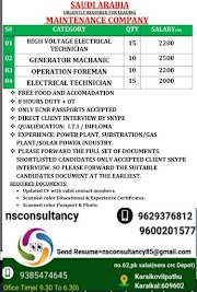 SAUDI JOBS : REQUIRED FOR A MAINTENANCE COMPANY IN SAUDI .g
