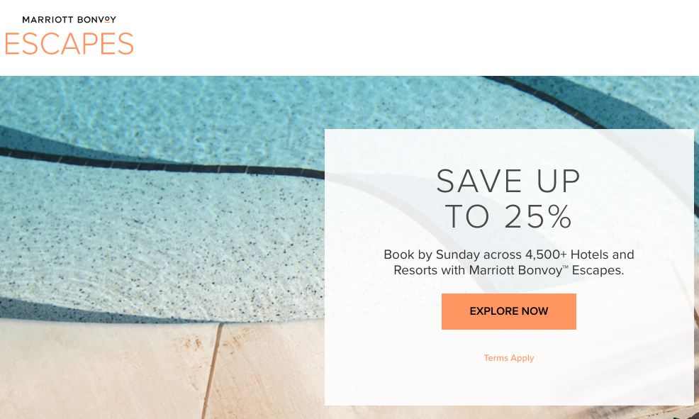 Marriott Bonvoy Escapes – Save up to 25% for last minute stays at 208 Marriott Hotels in Canada