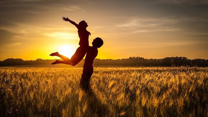 Casal, Apaixonado, Feliz, Pôr Do Sol