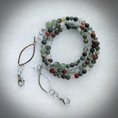 Bloodstone Chain with Wire Ichthus
