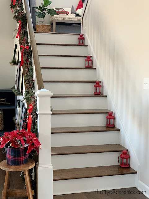 white risers stained treads stairs