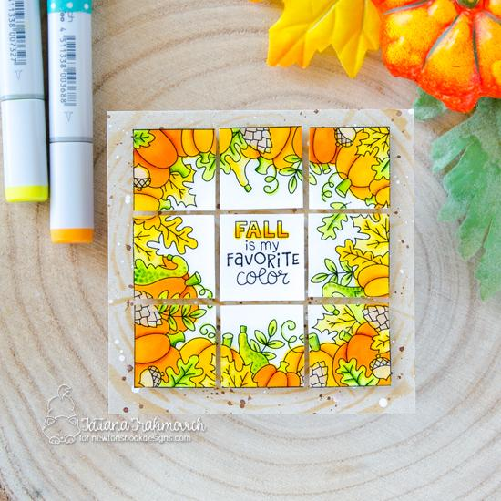 Fall is my Favorite Color Grid Card by Tatiana Trafimovich | Fall Fringe Stamp Set and Tree Rings Stencil by Newton's Nook Designs #newtonsnook #handmade