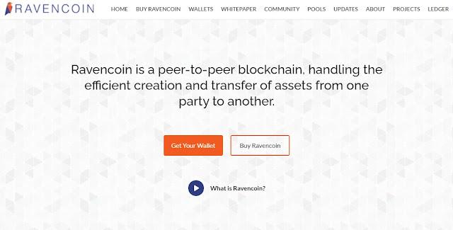 Screenshot Halaman Website Ravencoin (RVN) Cryptocurrency