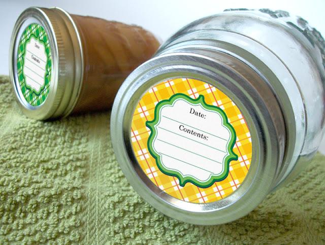 plaid canning jar labels