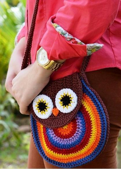 bolso bandolera crochet con forma de búho