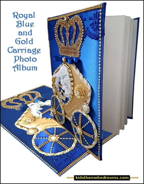Royal Blue and Gold Carriage Photo Album  Little Prince party decorations - Prince Baby Shower - Little Prince Birthday Party supplies -  Little Prince Baby shower cake - Little Prince gold crown cake topper - royal king themed party - Prince themed party - Royal Prince themed baby shower  - Prince and king themed birthday party - Royal themed decorations Crown royal birthday party