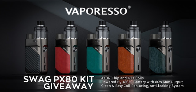 Join this giveawy and win a free Vaporesso Swag PX80 device!