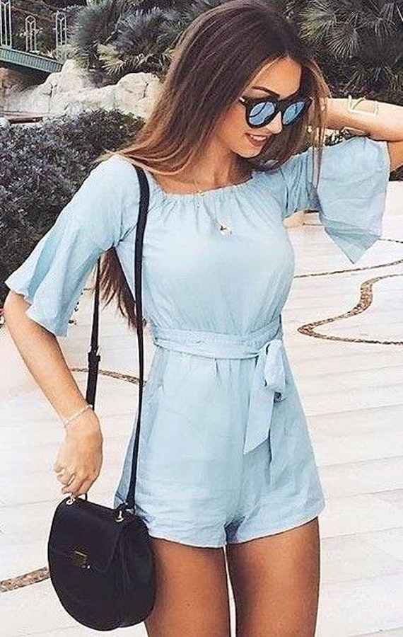 stylish look | blue jumpsuit + bag + sunglasses