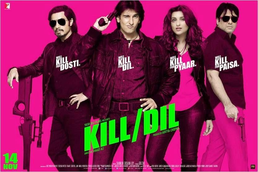 Ranveer Singh,, Parineeti Chopra, Govinda and Ali Zafar in Kill Dil movie poster