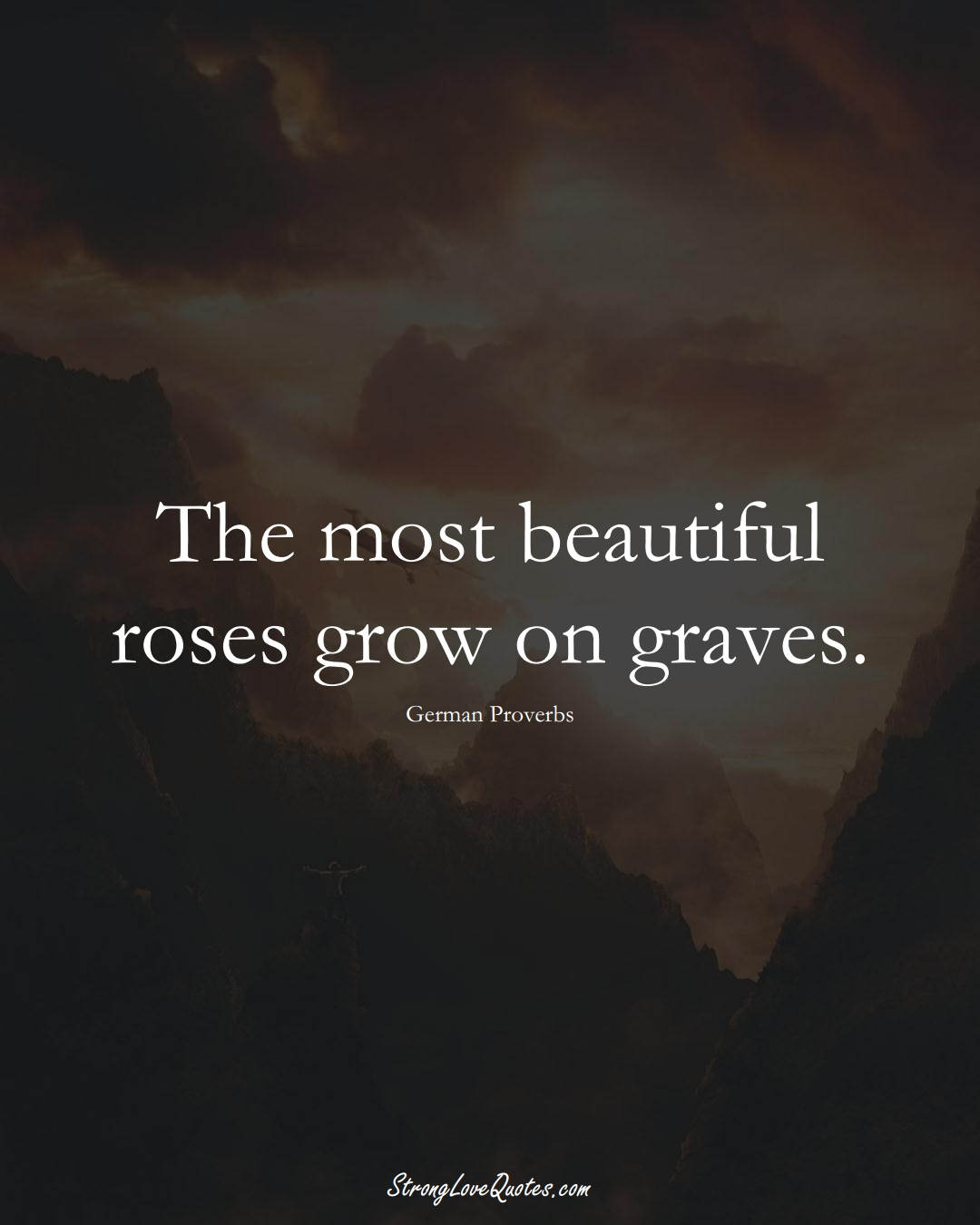The most beautiful roses grow on graves. (German Sayings);  #EuropeanSayings