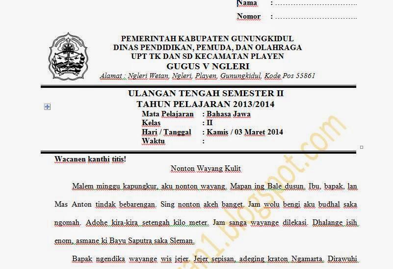 Soal Ujian Semester 2 Bahasa Jawa Kelas 1 2 3 4 5 6 Sekolah Dasar Media Untuk Belajar