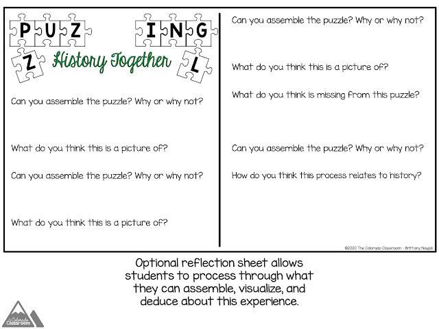An optional reflection sheet follows students through the process