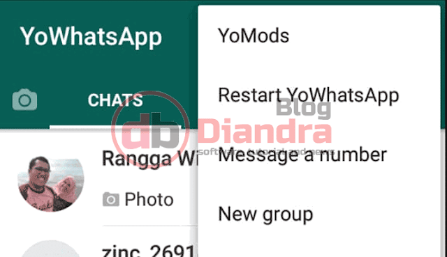 we have to open three dot menu to show menu in YoWhatsapp