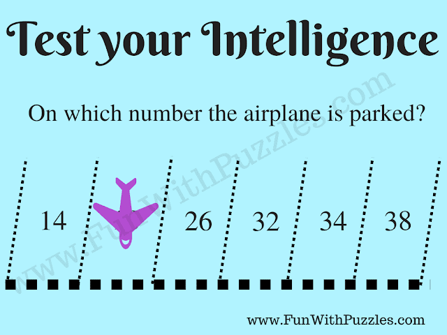 Can you find on which number the Plane is parked? 14 ? 26 32 34 38